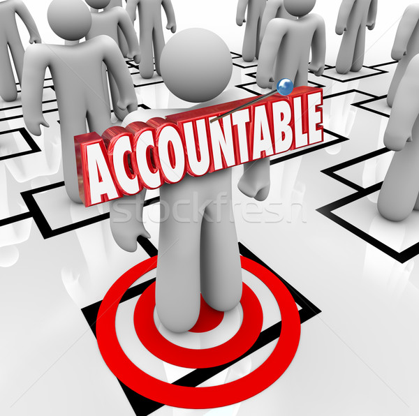 Accountable Word Targeted Person Pinning Blame on Worker Org Cha Stock photo © iqoncept