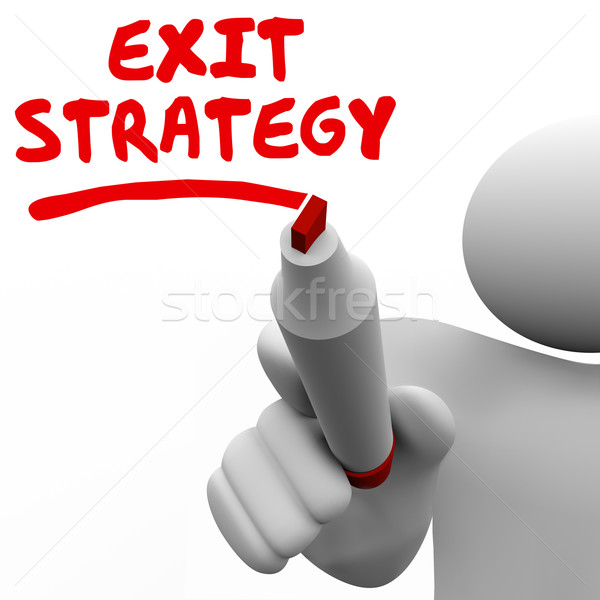 Exit Strategy Man Writing Words Marker Pen Planning Stock photo © iqoncept