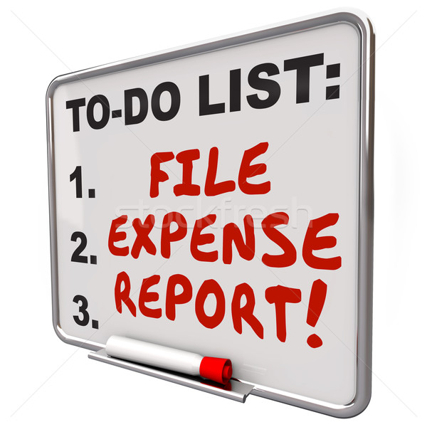 Stock photo: File Expense Report Words To Do List Reminder Board