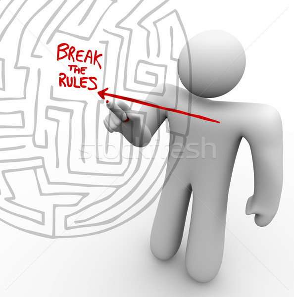 Breaking the Rules - Arrow Through Maze Stock photo © iqoncept