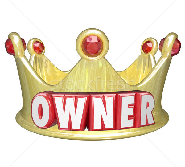 Owner Word 3d Gold Crown Home Property Control Stock photo © iqoncept