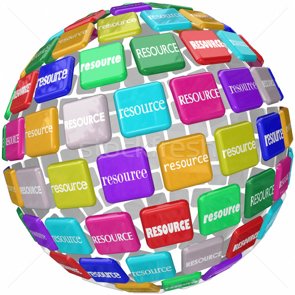 Resource Word Tiles Globe Important Information Access Skills Kn Stock photo © iqoncept