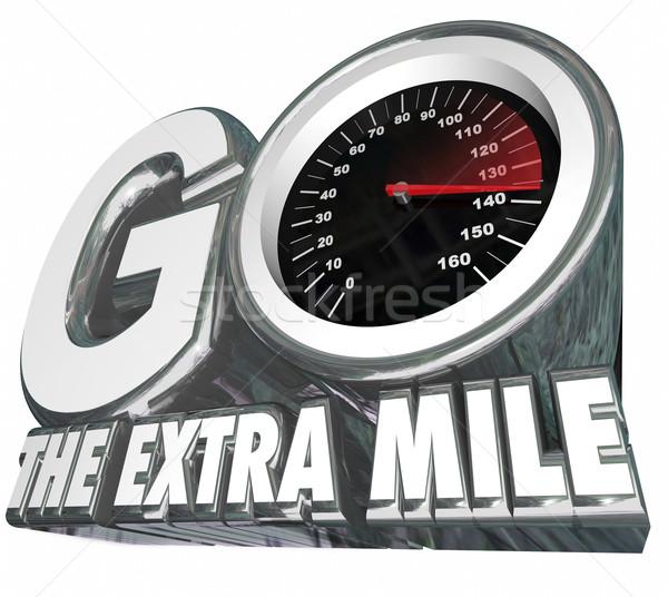 Extra snelheidsmeter inspanning afstand resultaten woorden Stockfoto © iqoncept