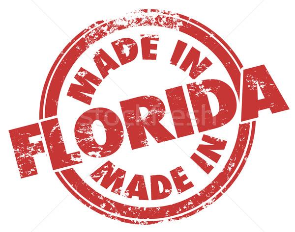 Флорида штампа красный чернила Гранж продукт Сток-фото © iqoncept