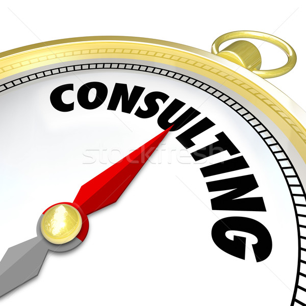 Consulting Word Gold Compass Expertise Experience Job Contract Stock photo © iqoncept