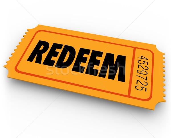 Redeem Word Orange Ticket Redemption Special Offer Winning Conte Stock photo © iqoncept