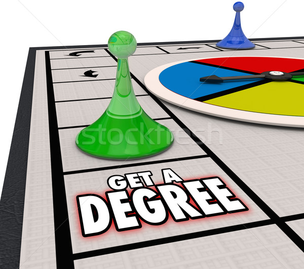 Get a Degree Words Board Game Advance Job Career Education Stock photo © iqoncept