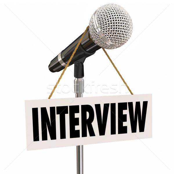 Entrevista colgante signo micrófono palabra preguntas Foto stock © iqoncept