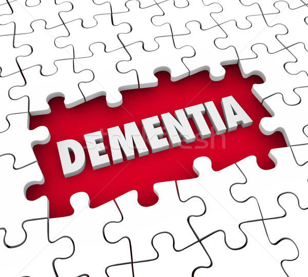 Dementia Puzzle Pieces Hole Aging Memory Loss Alzheimer's Diseas Stock photo © iqoncept