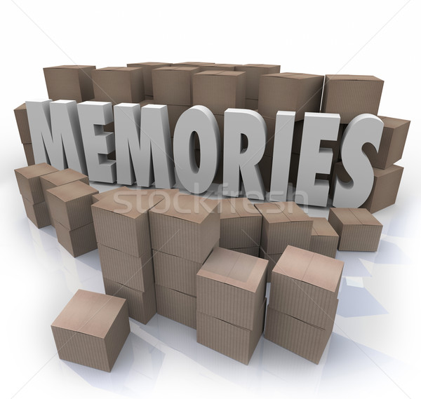 Memories Cardboard Box Word Remember Times Past Stock photo © iqoncept