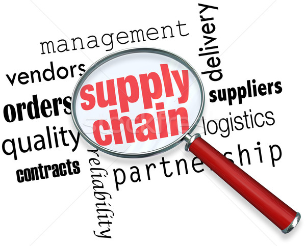 Supply Chain Logistics Magnifying Glass Words Stock photo © iqoncept