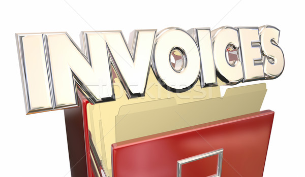 Stock photo: Invoices 3d Word File Cabinet Money Owed Payment Due