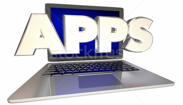 Apps Compter Laptop Application Software 3d Illustration Stock photo © iqoncept