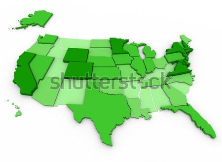 Stok fotoğraf: Amerika · Birleşik · Devletleri · harita · 3d · render · Amerika · renk · ABD