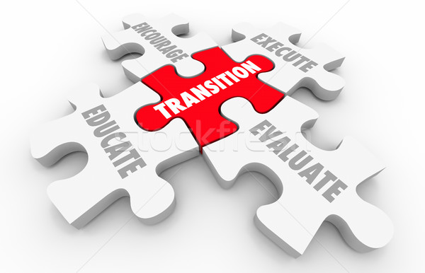Stock photo: Transition Leading Change Execute Evaluate Puzzle Pieces 3d Illu