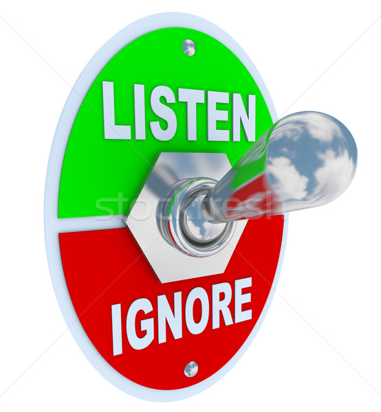 Listen Vs. Ignore - Toggle Switch Stock photo © iqoncept