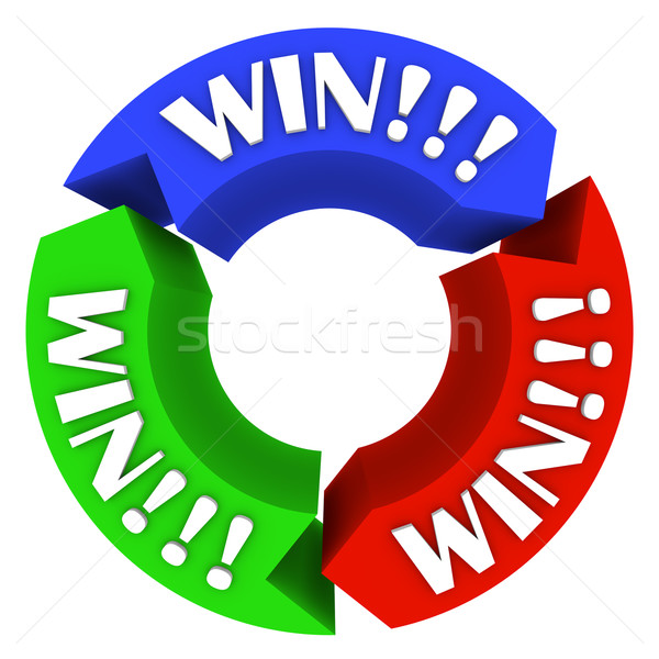 Win Circle with Words on Arrows - Lucky in Games and Life Stock photo © iqoncept