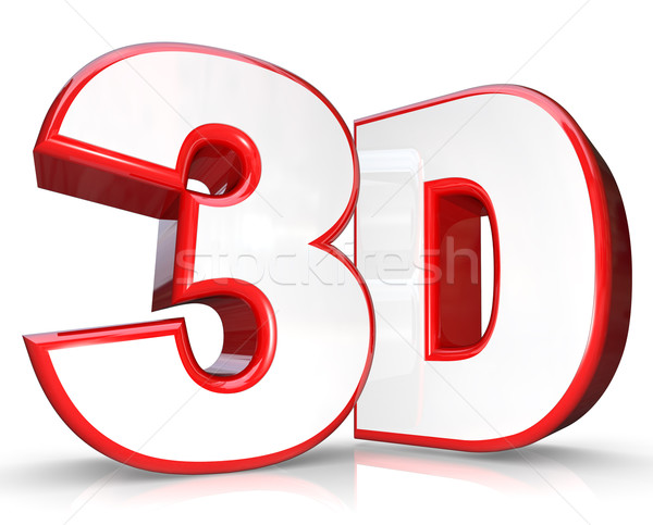 3D Red Letter and Number Three Dimensional Viewing Stock photo © iqoncept