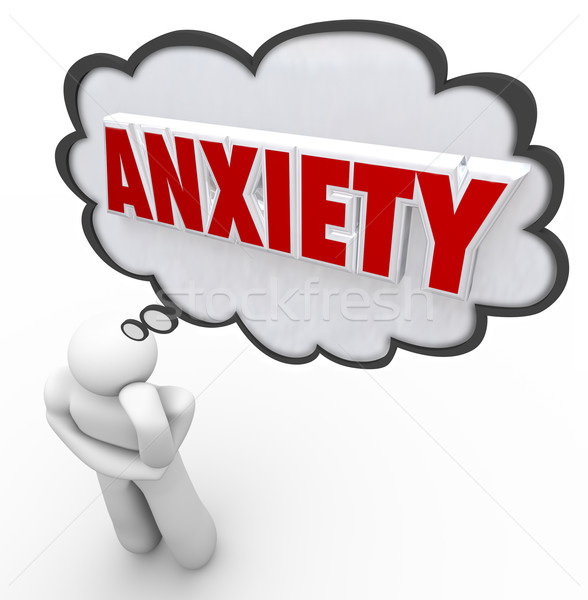 Anxiety Word Thought Bubble Cloud Thinking Man Worrying Stock photo © iqoncept