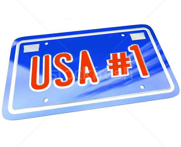 США номерной знак красный белый синий Сток-фото © iqoncept