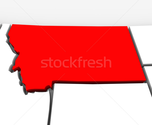 Stock photo: Montana Red Abstract 3D State Map United States America