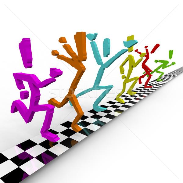 Foto finire runners cross insieme Foto d'archivio © iqoncept