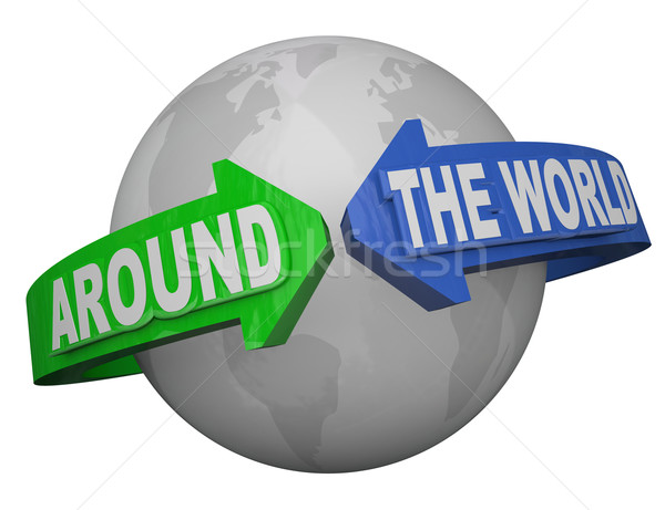Around the World Outreach Words Arrows Surround Earth Stock photo © iqoncept