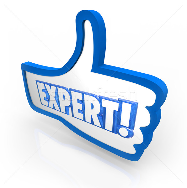 Stock photo: Expert Word Thumbs Up Symbol Approved Rating Experienced Review