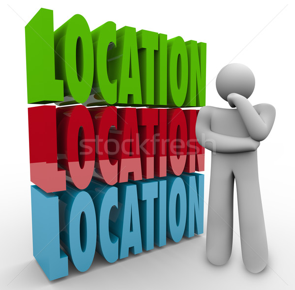 Location Words Thinking Person Where to Live Work Area Stock photo © iqoncept