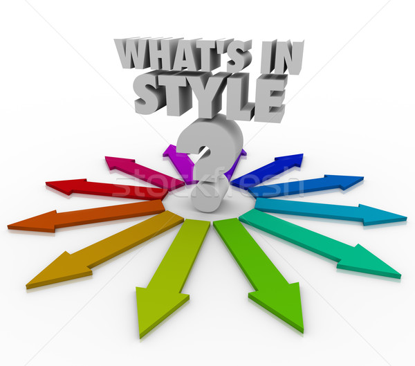 Whats In Style Words Question Mark Current Design Fashion Trend Stock photo © iqoncept