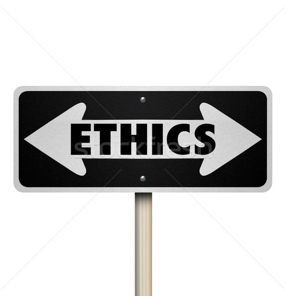 Ethics Two Way Road Sign Right Vs Wrong Good Bad Choice Stock photo © iqoncept