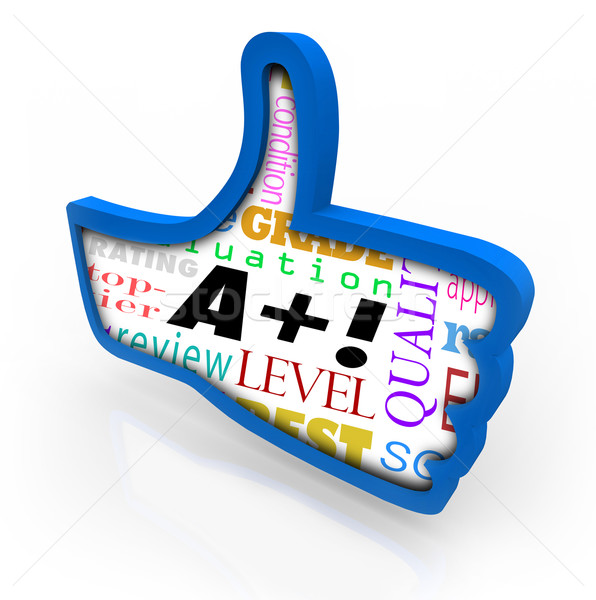 A Plus Grade Score Blue Thumb Up Symbol Review Stock photo © iqoncept