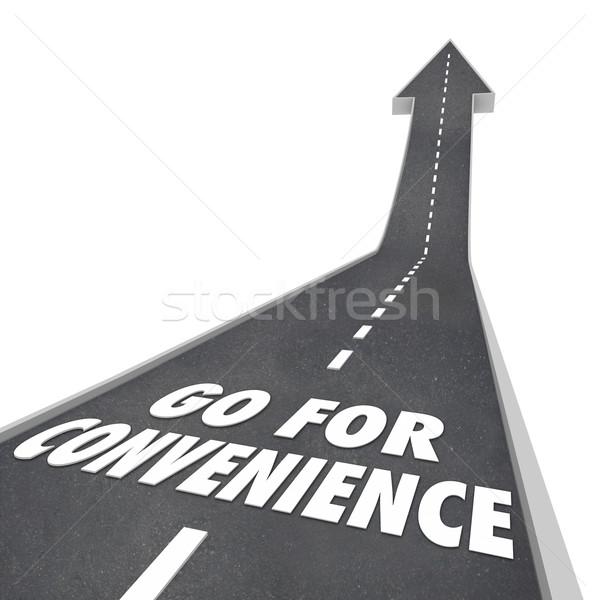 Kényelmesség szavak út vezetés utazás barátságos Stock fotó © iqoncept
