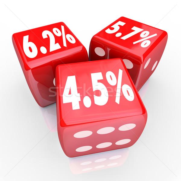Kamatláb százalék számok három piros kocka Stock fotó © iqoncept