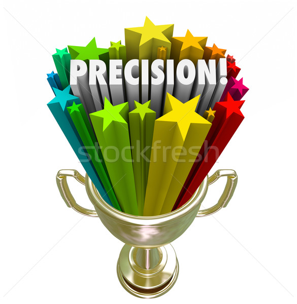 Precision Word Accurate Aim Goal Achieved Trophy Winner Stock photo © iqoncept