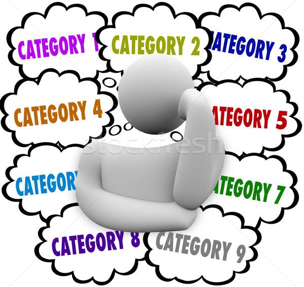 Zdjęcia stock: Zorganizować · myśli · myśliciel · pomysły · zadania · oferty · pracy
