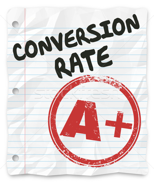 Conversion Rate Grade Lined Paper Successful Sales Percentage Stock photo © iqoncept