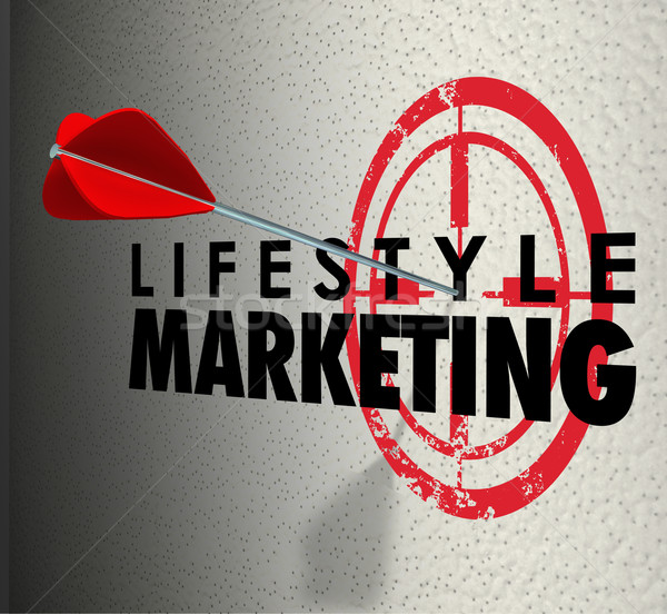 Lifestyle Marketing Words Arrow Hitting Target Personal Interest Stock photo © iqoncept