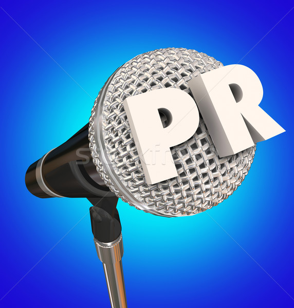 PR Public Relations Microphone Mic Stand Mike Interview Share Me Stock photo © iqoncept