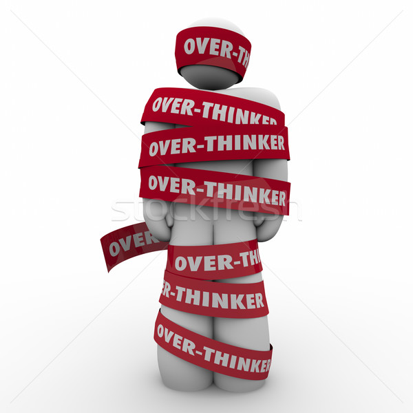 Over-Thinker Man Wrapped in Tape Too Much Analysis Paralysis Stock photo © iqoncept