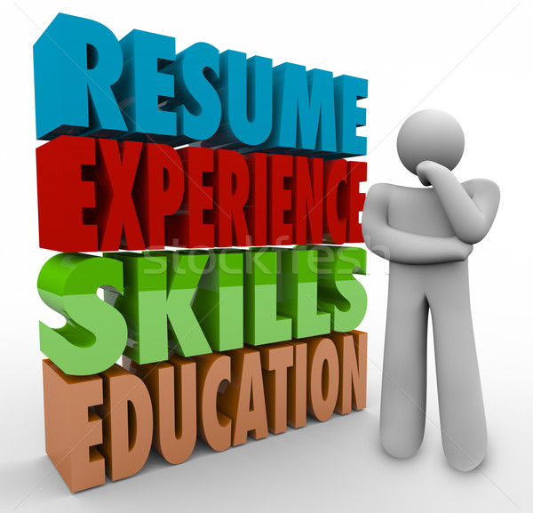 Resume Experience Skills Education Thinker Applying Job Qualific Stock photo © iqoncept