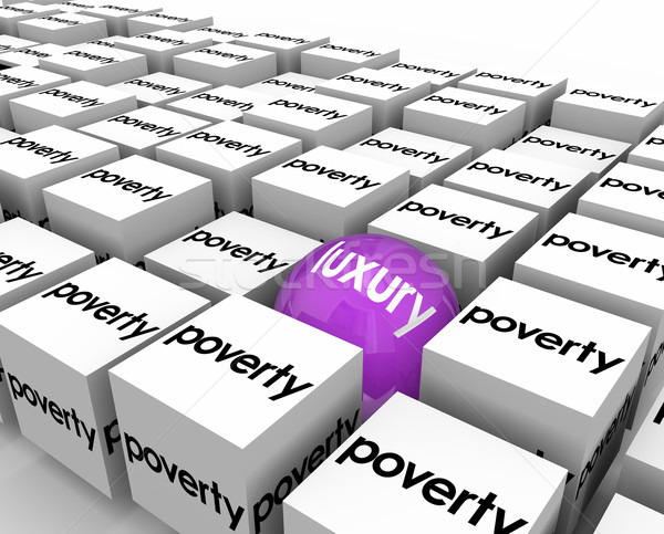 Luxury Ball Among Poverty Poor Living Conditions One Lucky Rich  Stock photo © iqoncept