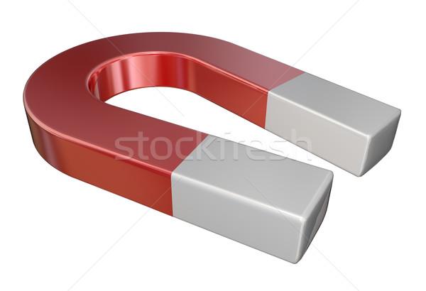 Rood metaal magneet wetenschap aantrekkelijkheid objecten Stockfoto © iqoncept