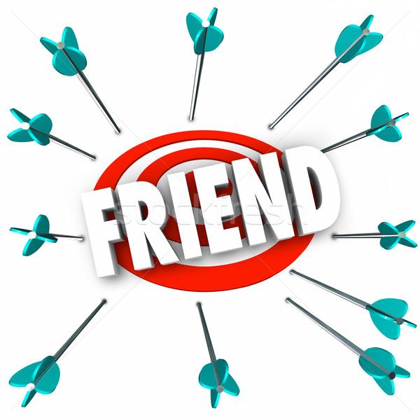 Vriend woord vriendschap pijlen target zoeken Stockfoto © iqoncept