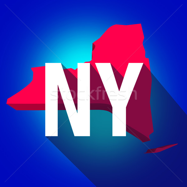 Photo stock: New · York · ny · lettres · abréviation · rouge · 3D