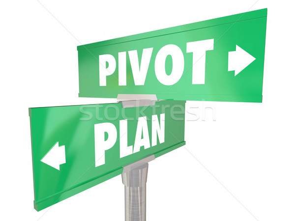 Stock photo: Plan Vs Pivot Change Direction New Strategy Vision Road Signs