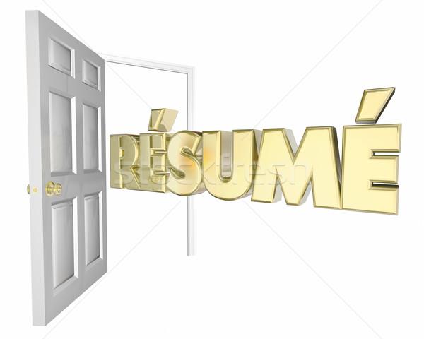 Resume Open Door Interview Job Opportunity 3d Animation Stock photo © iqoncept