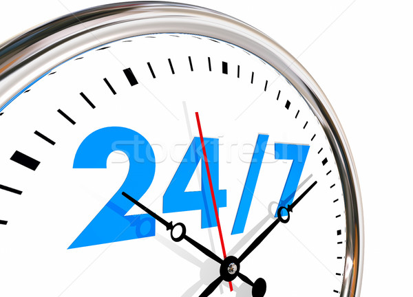 24 Hours 7 Days Week Numbers Clock 3d Illustration Stock photo © iqoncept