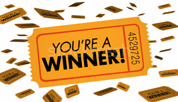Youre a Winner Raffle Lottery Tickets Luck 3d Illustration Stock photo © iqoncept