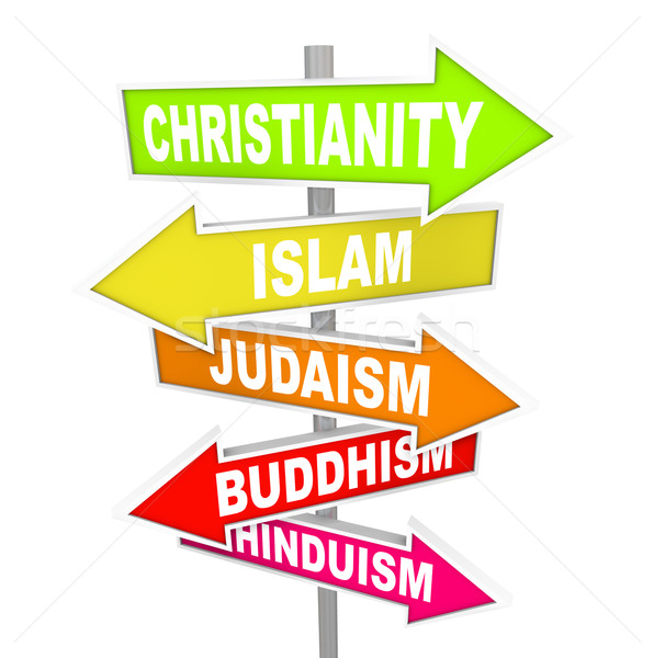 Stock photo: Five Major World Religions on Arrow Signs